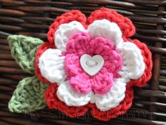 Crochet Flower Hair Clip with Leaves by TheStitchinMommy on Etsy, $6.50