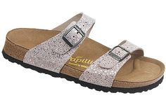 Papillio Sydney  Terrazzo Stone Leather  $99     Two thinner, contoured straps make this style very comfortable for those with prominent foot bones. Creative patterns and materials set the Papillio Sydney apart. The cork footbed is sculpted to match your arches providing support and all-day comfort. EVA soles are flexible, lightweight, durable and resoleable.