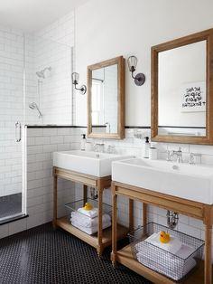 Two wood vanities, large white subway walls, black hex floors Bathrooms - Bathroom Ideas - Bathroom Decor Ideas - Bathroom Vanity Ideas - Bathroom Remodel - Wood Vanity - Open Shelving Vanity Shabby Chic Bedrooms, Shabby Chic Homes, Shabby Chic Decor, Girl Bedrooms, Bad Inspiration, Bathroom Inspiration, Mirror Inspiration, Mirror Ideas, Small Bathroom