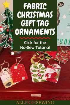 Fabric Christmas Gift Tag Ornaments (No-Sew Tutorial) Christmas Sewing Patterns, Christmas Sewing Projects, Easy Sewing Projects, Christmas Gift Tags, Christmas Ornaments, Fabric Ornaments, Fabric Markers, Fabric Gifts, Clever