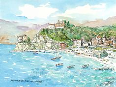 Monterosso al Mare  art print from an original watercolor painting