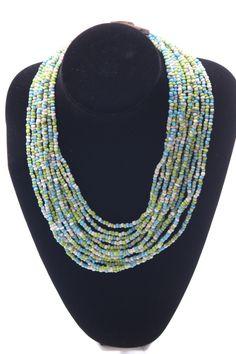 Multi-coloured bead neckpiece