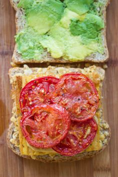 """Smashed Chickpea, Avocado and Roasted Tomato Sandwich with """"Cheesy"""" Tofu 
