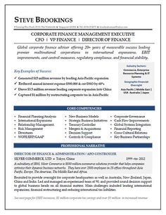 CEO / CFO Executive Resume Example | Pinterest | Executive resume ...