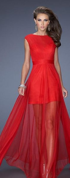 Elegant Bateau A-Line Sleeveless Natural Prom Dress In Stock tkzdresses14309bfth #redpromdress #long