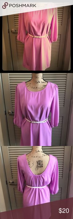 Gorgeous lavender dress - NEVER WORN!! This gorgeous dress can be worn with or without the white belt (sold with the dress). The dip in the back is super flattering! 33 inches from shoulder to bottom hem. I wish this fit me because I would LOVE to keep it! Pink Owl Dresses