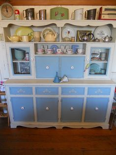 This was once an old, tired hutch dresser with glass in the doors, horrid wood…