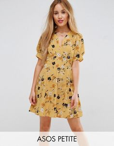 Buy it now. ASOS PETITE Tea Dress in Ditsy Floral - Multi. Petite dress by ASOS PETITE, Lightweight woven fabric, All-over floral print, V-neck, Short sleeves, Zip fastening, Regular fit - true to size, Machine wash, 100% Polyester, Our model wears a UK 8/EU 36/US 4 and is 163cm/5'4 tall. 5�3�/1.60m and under? The London-based design team behind ASOS PETITE take all your fashion faves and cut them down to size. Say goodbye to all your short-girl problems with our perfectly proportioned de...