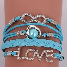 Leather Bracelets Zircon Multilayer Alloy Love and Infinite Charms Handmade Bracelets - USD $ 2.99