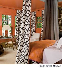 Room designed by Barbara Howard with orange walls and ceiling. Tangerine Bedroom, Orange Bedroom