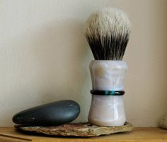 Shaving Brush - Moonstone and Black Peacock Resin Handle Hand-Made with Two Band Finest Badger Knot by LoveYourShave on Etsy