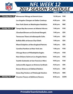 graphic about Nfl Week 12 Printable Schedule titled 17 Great NFL Period Timetable visuals inside of 2017 Nfl year, Nfl