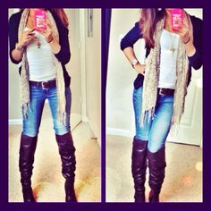 High knee boots, jeans, belt and cardigan is my casual outfit! :)