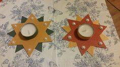 Świecznik z tektury falistej  /materiały: tektura falista, świeczka, perły do przyklejania, klej na gorąco/
