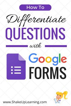 How to Differentiate Questions with Google Forms: UPDATED March 2017! There are so many amazing things we can do with Google Forms. One of my favorite features allows us to differentiate a form for students, meaning we can send students to different questions and pages of information based on how they answer each question. It can get complicated very fast, so hang on tight for some tutorials, details, and classroom application ideas!