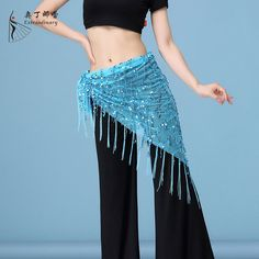 mini hip cover TURQUOISE sash Tribal Belly dance hip wrap