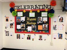 Hispanic Heritage Month Bulletin Board Middle School Spanish Bulletin Boards, History Bulletin Boards, College Bulletin Boards, Hispanic History Month, Hispanic Culture, Hispanic Heritage Month, Spanish Classroom Decor, School Library Displays, Spanish Heritage