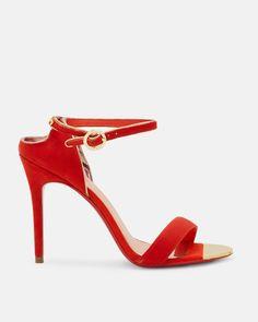 Ted Baker Cut-out back heeled sandals Bright Orange
