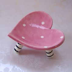 ceramic heart dish  pink polkadots with striped legs