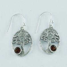 Pretty Oval Shape Garnet Stone 925 Sterling Silver Dangle & Drop Earrings _ ER835 by JaipursilverindiaCo on Etsy