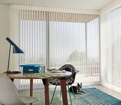 Brilliantly illuminate a home office with the contemporary style and precise light control of Luminette® Privacy Sheers.  ♦ Hunter Douglas window treatments #Dog #BlueDecor