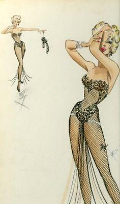 William Travilla's original costume design for Marilyn Monroe's Diamonds Are A Girls Best Friend number