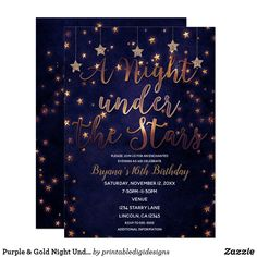 Purple & Gold Night Under the Stars Celestial Sky Card - invitations personalize custom special event invitation idea style party card cards Sweet 16 Themes, Sweet 16 Decorations, Star Decorations, Graduation Invitations, Birthday Party Invitations, Wedding Invitations, Graduation Quotes, Graduation Caps, Grad Cap