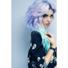 Mainly dye- lilac/blue if poss. Semi-perm & loose fitting jumper/sweater w. Skulls