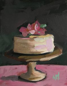 Vanilla Cake with Flowers Original Still Life Oil Painting by Angela Moulton 8 x 10 inch pre-order by prattcreekart on Etsy Arts Bakery, Still Life Oil Painting, Painted Cakes, Types Of Art, Cake Art, Painting Inspiration, Food Art, Flowers, Vanilla Cake