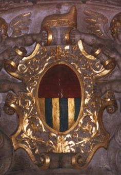 Arms of Priuli (pally of six or and azure and a chief gules), from the Palazzo Ducale, Venice. As is often the case in Italian heraldry, the chief is oversized.