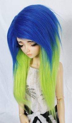 BJD MSD Minifee wig Royal Blue and Lime Green long in front fake fur wig MonstroDesigns ™