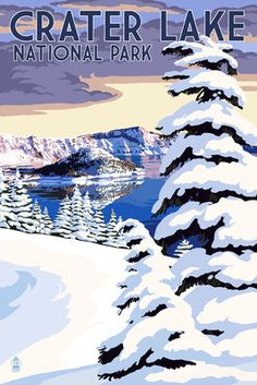 Crater Lake National Park, Oregon - Winter Scene - Lantern Press Poster