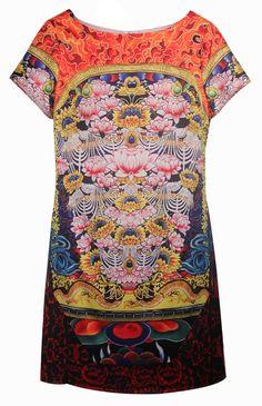 Retro Lotus Print Dress
