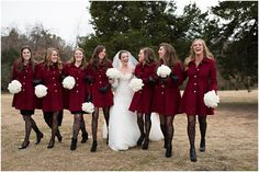 bridesmaids in long peacoats and black tights for winter wedding