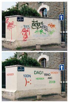 Guy Paints Over Shit Graffiti And Makes It Legible  http://designyoutrust.com/2016/07/guy-paints-over-shit-graffiti-and-makes-it-legible/#wU7UhPzfwVyFEIK4.99