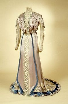 Dress about 1900-1905 by Giuseffi, USA. Satin with taffeta lining, lace, embroidery. Probably purchased in St. Louis MO by Caroline Ella Buford Danner.