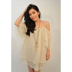$8.00 Loose-Fitting Off-The-Shoulder Spaghetti Strap Chiffon Blouse For Women