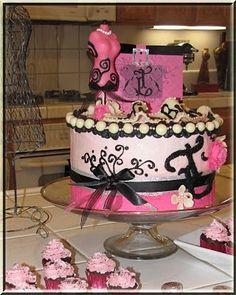 Fashion Cake - Pink and Black, modeling Chocolate