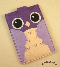 Pochette téléphone en feutrine - Hibou