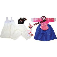 Bright Pink Silver Stamping and Royal Blue - Girl Dol Hanbok Set - 7 Pieces