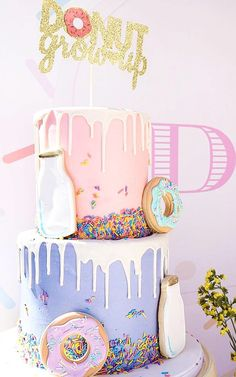 Donut Shoppe Party This double layer cake was decorated with donut cookies, sprinkles and a cookie milk bottle. Donut grow up, it says. I agree. Can we be kids and eat cake forever? Donut Birthday Parties, Donut Party, Birthday Party Themes, Birthday Ideas, Birthday Banners, Farm Birthday, Donut Birthday Cakes, Party Party, Birthday Invitations
