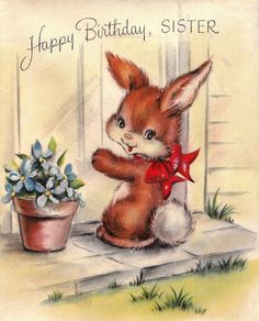 Bunny at the door Sister happy birthday card vintage retro