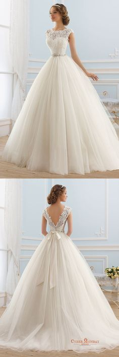 2016 Deep V Back Scoop Wedding Dresses A Line Tulle With Applique And Sash Item Code: #CMDPEJMRR4T