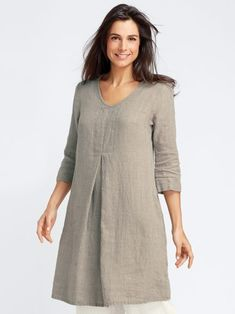 Gidget's flax apparel, linen clothing and all cotton clothing: Woodstock Dress with Sleeves, Flax Linen Dresses, Kurta Designs, Blouse Designs, Linen Dresses, Dresses With Sleeves, Flax Clothing, Sewing Clothes, Indian Wear, Dress Patterns, Plus Size Fashion
