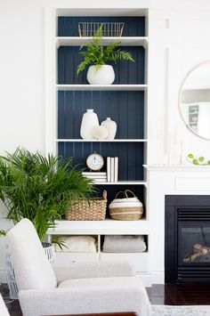 Blue painted shelves in the family room. Home Decor Bedroom, Home Living Room, Living Room Decor, Living Spaces, Dining Room, Built In Shelves Living Room, Web Design, Design Desk, Floor Design