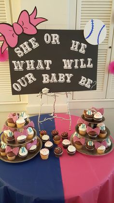 Cupcake table for Gender reveal designed by Elegant Times, bows or baseball theme