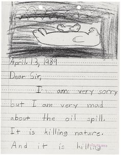 Second-grader Kelli Middlestead writes to the US Fish + WIldlife Service about the Exxon Valdez spill (April 13, 1989)