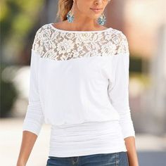 Women's Lace Embellished Long-Sleeve Banded-Bottom Loose Casual Top 3 Colors S-XL