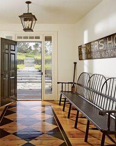 Amazing Rustic Interior in Home : Charming Farmhouse Interior Design Ideas Glossy Wood Floor Darkwood Bench