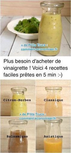 No more need to buy salad dressing! Here are 4 Easy Recipes Ready In 5 Min. - Looking for a quick and easy dressing recipe? Here is not one but 4 vinaigrette recipes ready in 5 - Easy Dressing Recipe, Salad Dressing Recipes, Salad Recipes, Batch Cooking, Cooking Recipes, Healthy Recipes, Easy Recipes, Marinade Sauce, Vinaigrette Dressing